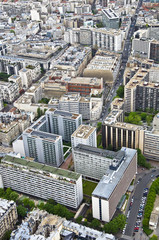 Center of Paris from the heights. Urban scene.
