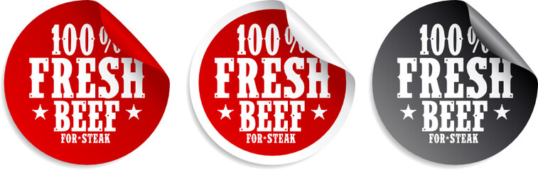 Fresh beef meat for steak stickers set