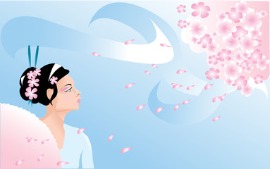 Sakura blossom and japanese girl (geisha)