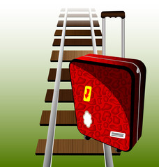 suitcase on the rails