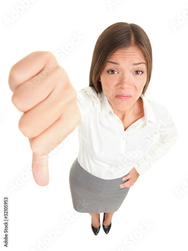 Thumbs down woman