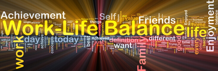 Work–life balance background concept glowing