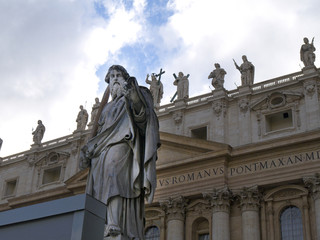 The facade of St Peters Basilica in Rome Italy
