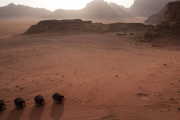 Sunset on tents in Wadi Rum desert