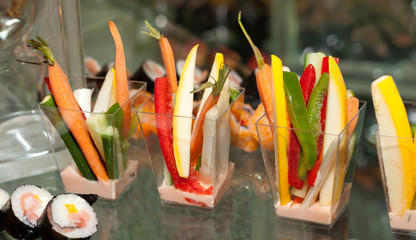 Japanese Vegetable Appetizer with Sushi Rolls