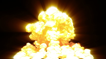 nuclear explosion, 3d animation