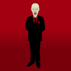 Vampire businessman in a suit on blood red background