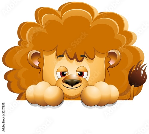 Leone Cucciolo Cartoon Sfondo-Baby Lion Background-Vector