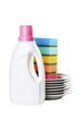 Color sponges, dishes and bottle