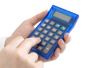 hand with calculator isolated on white