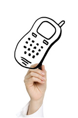 hand drawing mobil phone isolated on white