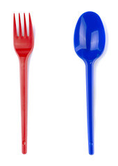 Plastic red fork and blue spoon set