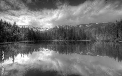 Polish Tatra mountains Smreczynski staw lake B&W