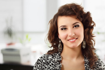 businesswoman beautful young in office at workplace