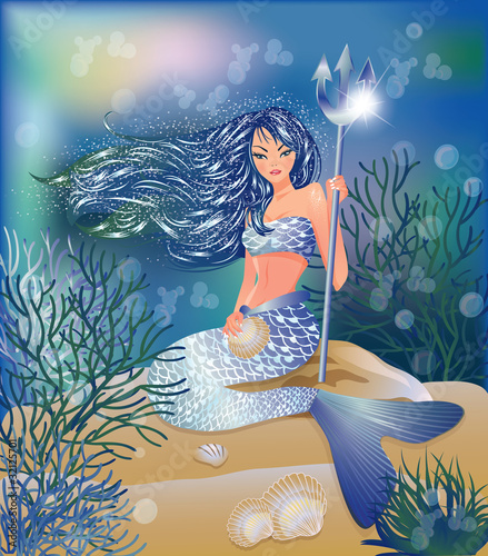 Poster Zeemeermin Beautiful Mermaid with Trident and seashell, vector