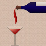 Retro background with wine bottle and glass