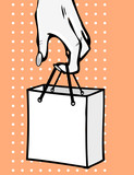 Pop art comic book symbol - Hand with bag. Woman