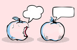 Apple with bubble speech / Fruit in pop art retro style
