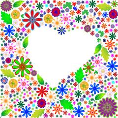 Цветочная рамка в виде сердца
