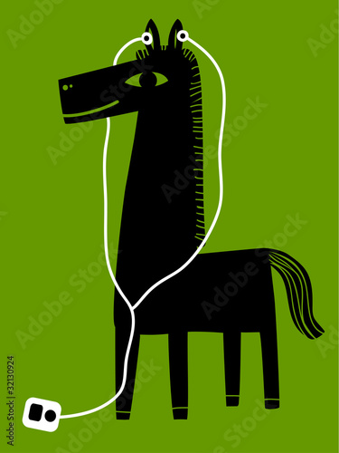 a horse with earphones © Complot