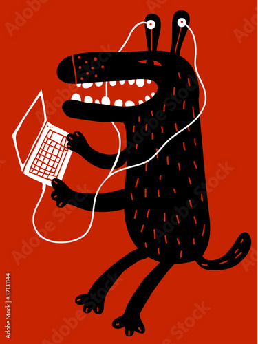 dog with earphomnes and laptop © Complot