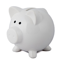 White piggy bank on white background.