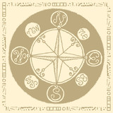 wind rose compass sepia light
