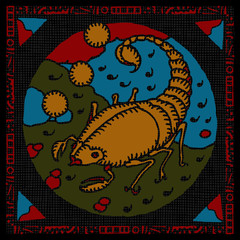 Scorpio horoscope woodcut