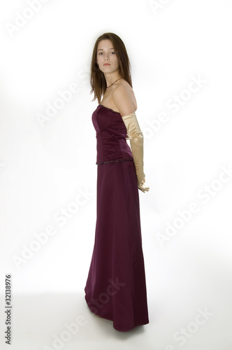 Young woman in formal attire.