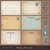 set of blank antique postcards plus stamps