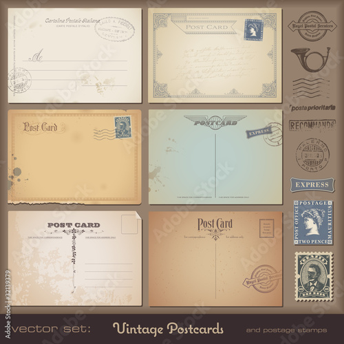 set of blank antique postcards plus stamps