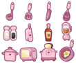 cartoon kitchen tool icon set