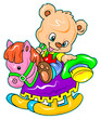 cute bear riding a rocking horse