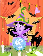 Halloween. Strega nel suo laboratorio magico