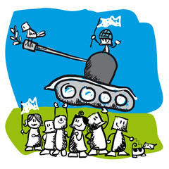 Concept vector illustration showing PEACE a cartoon tank