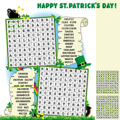 St. Patrick's Day word search puzzle, answers included
