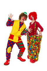 Couple funny clowns