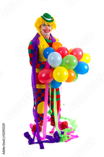 Funny clown with balloons