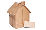 House wrapped in brown paper cut out