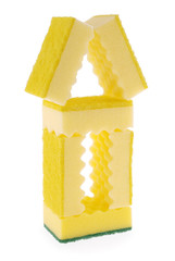 House made of yellow sponges