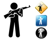 Man with firearm pictogram and signs