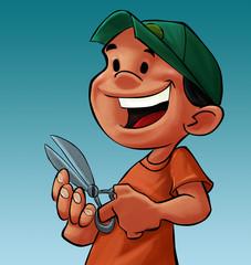 boy with a scissor