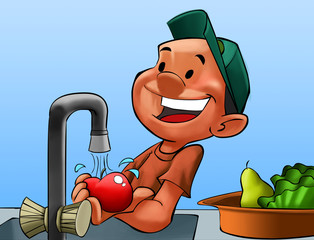 boy washing some fruits