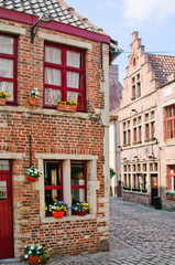 A typical Dutch street in the Delph. Netherlands
