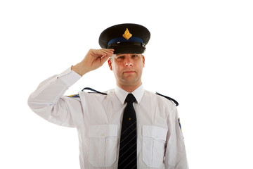 Police officer with hand on capover white background