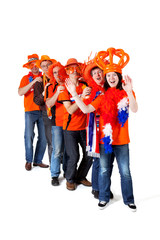 Group of Dutch soccer fansover white background