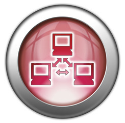"Red glossy 3D effect button ""Network"""