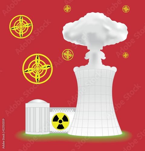 Nuclear plant with mushroom cloud