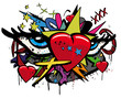 Pop art love graffiti hearts eyes illustration white background