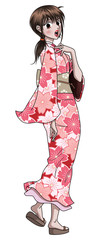Japanese Cute Anime Style Lady in Kimono